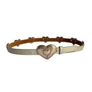 Vintage Justin Heart Conch Belt Rose Gold Skinny